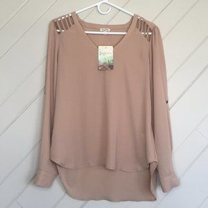 NWT Lily White Long Sleeve Drapey Blouse Cutouts